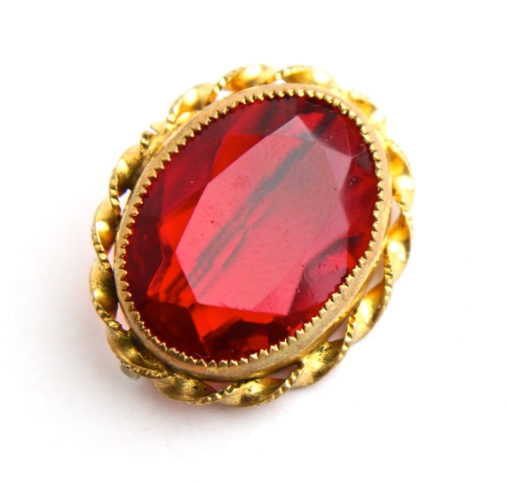 Antique Edwardian Red Glass Stone Brooch Gold By