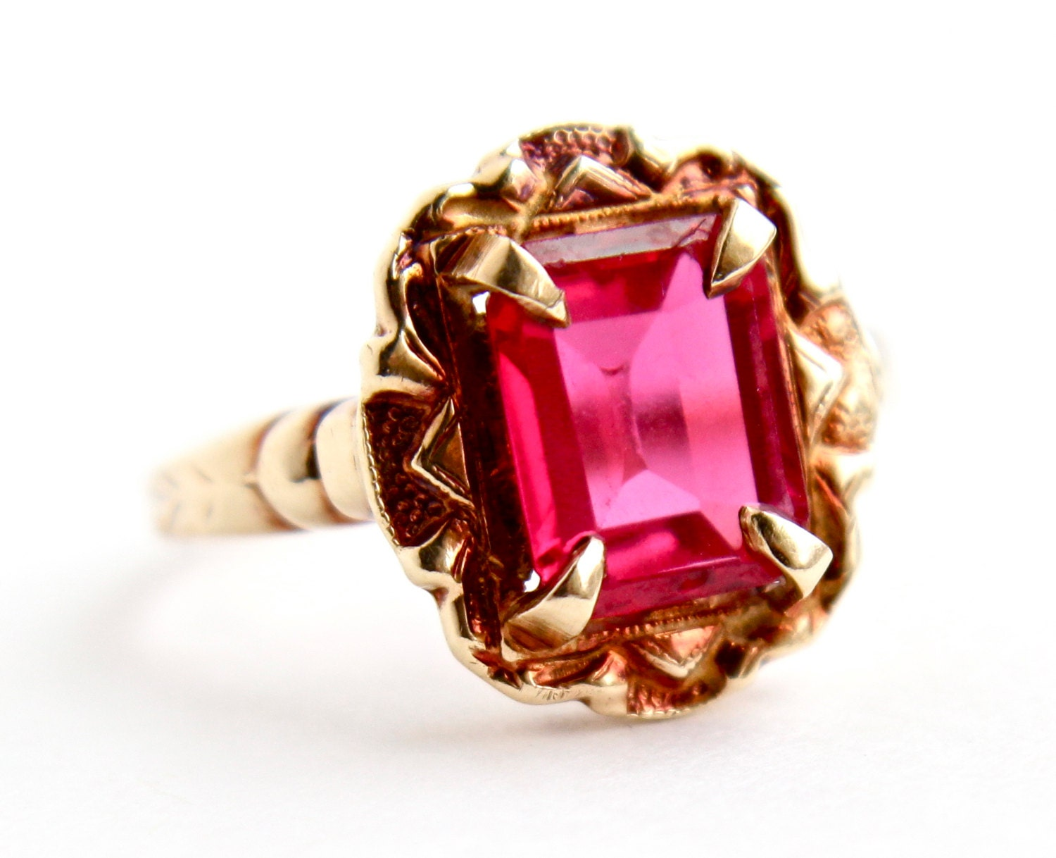 Antique 10k Yellow Amp Rose Red Gold Ruby Stone By
