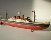 Vintage Metal Clockwork Toy Boat Ship Oceanliner Steamer / German / Hand painted