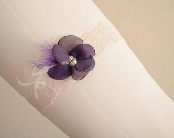 BEST SELLER,Ivory Purple Garter Lace garter,Flower feather garter,Purple,Dark Purple,Ivory, Style B059b