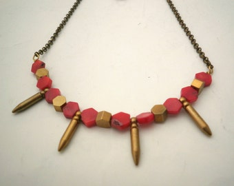 Brass and Red Coral Necklace