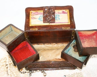 French Wooden Jewelry Box, hand carved, moving drawers and personalized inside with embroidery