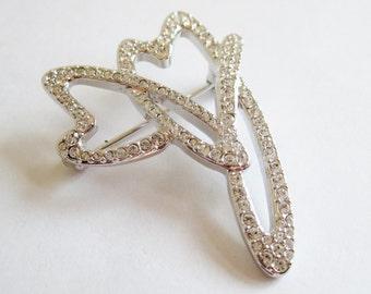 Vintage Designer Silver Heart Swarovski Crystal Brooch Pin Swan Mark
