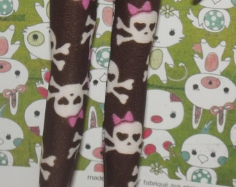 Brown with skull and pink bow tights leggins for blythe