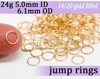 24g 5.0mm ID 6.1mm OD gold filled jump rings  -- goldfill jumprings 14k goldfilled jewelry supplies findings