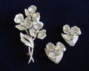 CORO Large Brooch and Earrings Flowers Silver Tone Metal