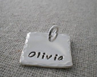 """personalized 5/8"""" square pendant   hand stamped sterling silver    stamped name tag   word of the year   stamped name tag"""