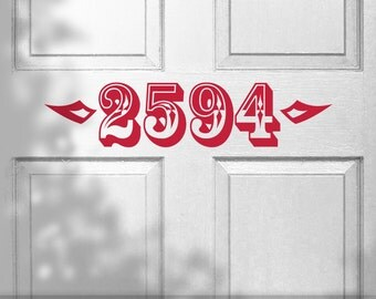 Custom House Number Removable Vinyl Door Decal In Floral - Custom removable vinyl decals