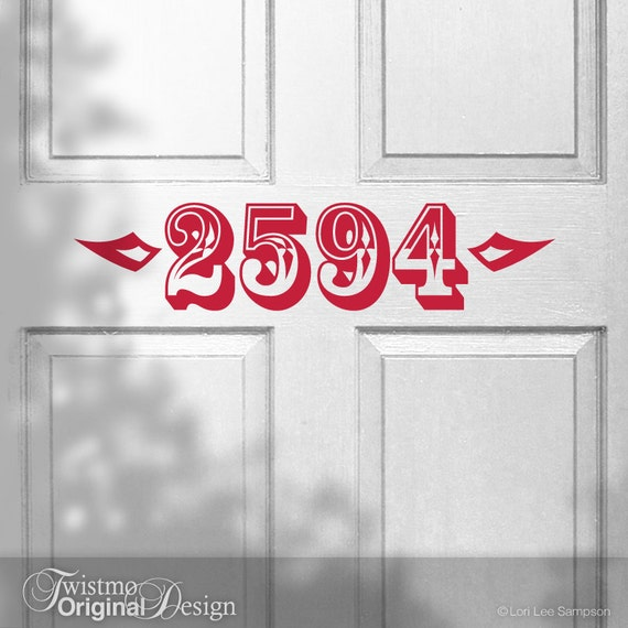 Door Decal Unique Custom House Numbers Removable Wall - Custom vinyl decals numbers