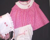Baby Girls Sundress With Matching Bonnet and Diaper Cover in Pink and White