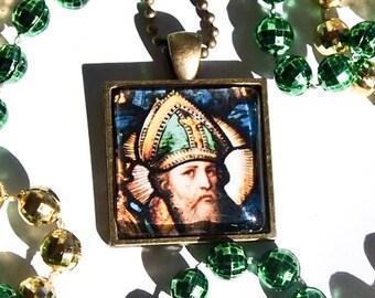 St. Patrick glass pendant
