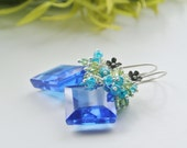 Luxe Cobalt  Blue Earrings, Sky Blue, Cluster Earrings, Gemstone, Peridot, Silver, Fancy Cut Droplets, Aquamarine,  Icy Blue, Aqua