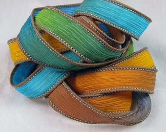 Hand Dyed Silk Ribbon - Crinkle Silk Jewelry Bracelet Fairy Ribbon - Quintessence - Summer Crinkle