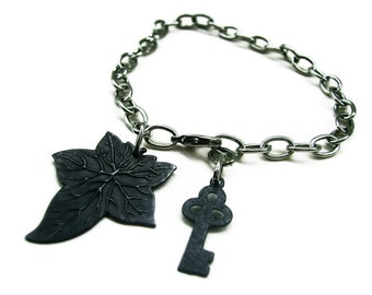 Ivy Leaf Key Bracelet Black Silver Steampunk Styled - UNDER THE IVY - Ltd Ed of 2 - ready to ship Etsy uk