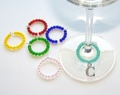 Set of 4, 6, or 8 Personalized Wine Glass Charms Your Choice Letters Alphabet Initial Party Favor