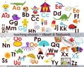 Teaching Phonics Clipart & Digital Flashcards: Digital Image Set (300 dpi) School Teacher Clip Art Early Reading Flashcards Picture Alphabet