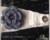 SALE...Pattern Confetti Betty Headwrap with flower PDF crochet  teen women girl button closure