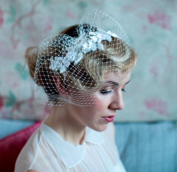 Vintage Wedding Hairstyles With Birdcage Veil: Items Similar To Wedding Veil Headpiece Birdcage Veil
