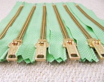 5inch - Mint Green Metal Zipper - Gold Teeth - 6pcs