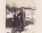 Soldier and His Girl - Vintage Photograph, Vernacular, Found Photo, Ephemera  (QQ)