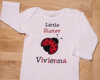 Personalized Lady Bug Little Sister Shirt