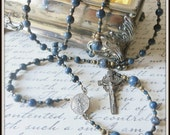 LIMITED - Handmade Bronze St. Michael Catholic Rosary in Blue Dumertertite, Patron Saint of Police Officers