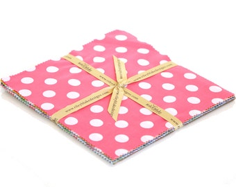 "Dots Medium 10"" squares Charm Pack by Riley Blake Designs for Riley Blake, 15 pieces"