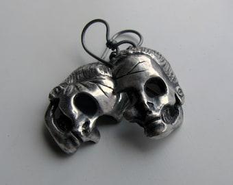 Silver skull earrings titanium ear wires