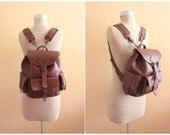 Vintage Brown Leather Backpack , Made in Greece / Excellent Condition
