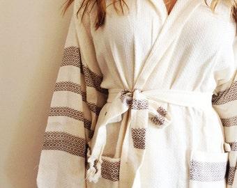 BATHROBE Anti Bacterial Unisex Natural Cotton&Bamboo Turkish BathRobe Bridesmade Gift Bath,Beach,Eco Friendly
