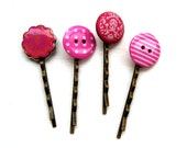 Hair grips bobby pins hair slides accessories pinks set of 4 UK seller