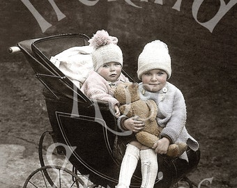 In Their Pram-Victorian Digital Image Download