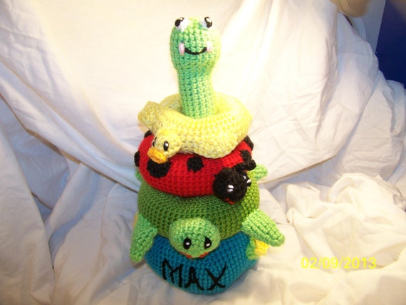 Crochet stacking ring baby toy ANY animals you want ANY colors you want