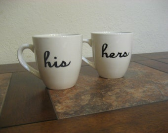 White His & Hers Hand Painted Coffee Mugs - Ready To Ship