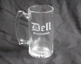 9 Custom Etched Groomsmen Beer Mugs