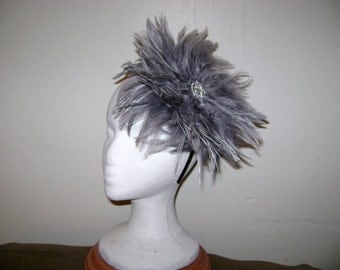 Smoke and Shadows Gray Feather Fascinator Headband Hat