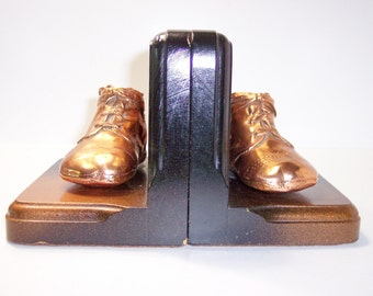 Bronzed Baby Shoes Bookends, Library Nursery Decor Vintage Mid Century, Plated Toddler Shoe Pair