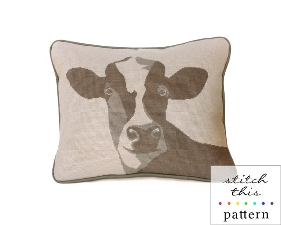 happy cow rustic modern needlepoint pattern - diy - contemporary - pdf - instant download