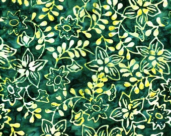 Batik Cotton Fabric, 1/4 Yard, Leaves, Flowers, Dark Green, Batavian Batiks, Quilt, Quilting, Pillow, Wallhanging, Home Decor, Crafts, Gift