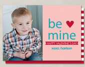 Modern Be Mine Valentines Day Custom Double-sided Photo Card (Printable Digital File or Printed) - Coral, Turquoise, & Red