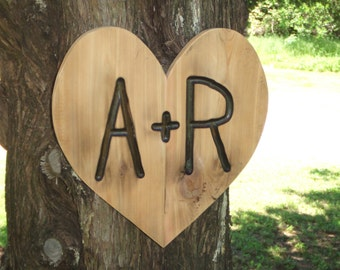 Valentine's Day Anniversary  Wedding  Heart Rustic Custom Carved wood sign reclaimed  unburnished - western cedar - personalized