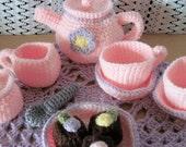Crochet Pink & Purple Flower Tea Set