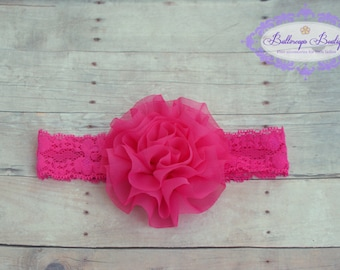 Pink baby headband, hot pink baby headband, infant headband, newborn headband,  hot pink chiffon flower on matching pink lace headband
