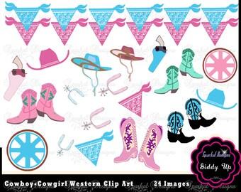 Cowboy Clip Art, Western Clipart, Bandana Banner Clipart, Pink Western Clipart, Cowboy boots, Western kerchief Cowgirl Hat Wagon Wheel