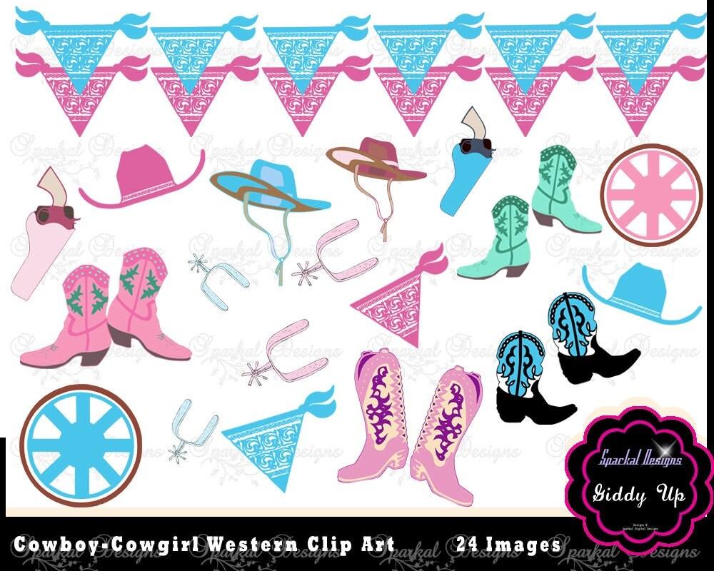 Cowboy Clip Art Western Clipart Bandana Banner Clipart Pink