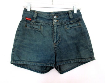 "90's High Rise Hand Dyed Denim Shorts size - S/M  - 28"" waist"