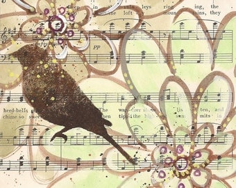 The Herd-Bells... original mixed media painting, bird, Antique 1930s sheet music book page, recycled book art