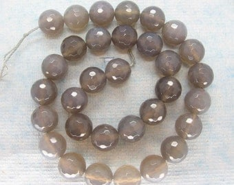 Full Strand Grey Agate Round Faceted Bead 12mm - 15 Inch