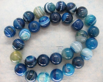 Full Strand Blue Lace Agate Round Beads 12mm
