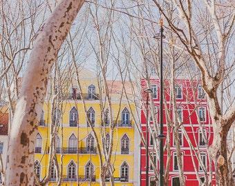 Portugal Photos,Travel Photography, Lisbon Photos, Architecture, European Photography - Colourful Street